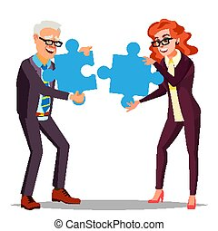 Partnership Vector. Businessman Man, Woman Holding In Hands Two Large Puzzles And Put It Together. Illustration