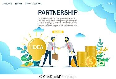 Partnership vector website landing page design template - ...