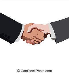 partnership., vektor, illustration., skitse, handshake.