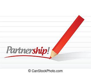 partnership written on a white paper.