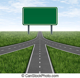 Teamwork and partnerships converging on the same road as a connected team sharing the same strategy and vision for the success of a company by working together as a conglomerate represented by three roads merging together into one with a blank highway sign.