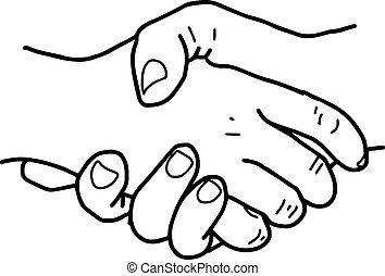 partneship., スケッチ, ベクトル, 握手, illustration.