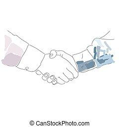 partneship., 握手, handshake., スケッチ, シンボル。, ベクトル, アイコン