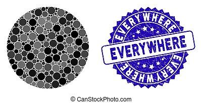 partout, grunge, cercle, icône, timbre, mosaïque