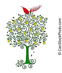 Christmas illustration of a colorful red partridge in a pear tree isolated on white