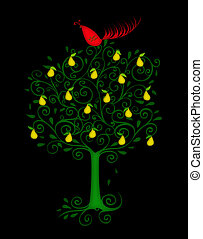 Partridge in a Pear Tree - Christmas illustration of a...