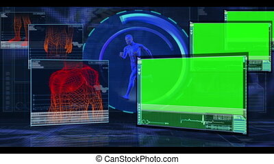 Parts of a human body are monitored on blue and black medical digital background with copyspace