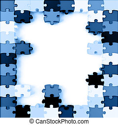 Parts of a puzzle with blue colors on a white background