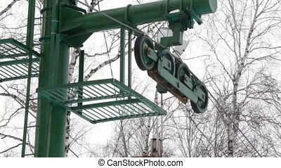 parts of drag lift, twisting mechanism lifts around. lift...