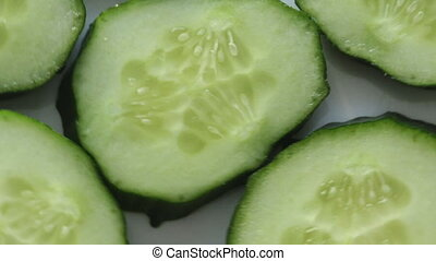 Parts of fresh cucumber - Footage of cut green cucumber,...