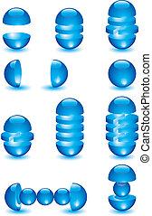 Parts of glass blue balls