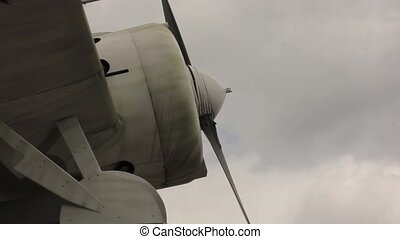 parts of old aircraft on a sky background. aviation industry civil and military airplanes.