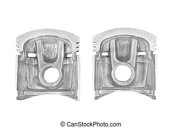 parts of the cut piston engine of a car