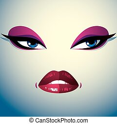 Parts of the face of a young beautiful lady with a bright make-up, lips and eyes. People facial expression, angry and tricky woman.
