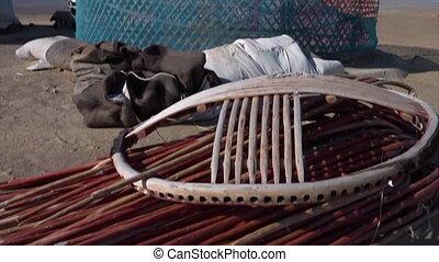 Parts of the framework of a yurt - A medium, still shot ...