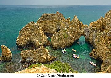 partvonal, közül, algarve, portugália