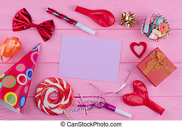 Party accessories and card for greeting.