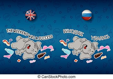 Party. After party. Disorder. Stag party. Elephant. Big set of stickers in English and Russian languages. Vector, cartoon