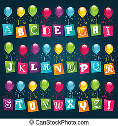 party, alphabet, mit, luftballone