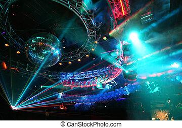 party, an, groß, disko