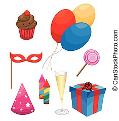 Party  and Celebration Icons with White Background