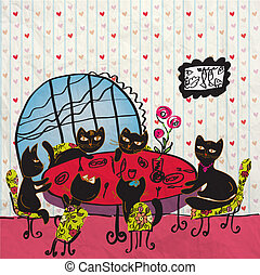 Party at the cafe with cats cartoon