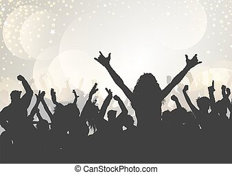 party audience on a bokeh lights background 2705