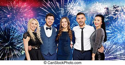 party, aus, firework, friends, glücklich