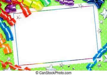 Party background - Blank card with brightly colored...