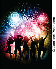 Party background - Silhouettes of people dancing on an...