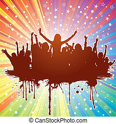 Party background - Party theme with dancing silhouettes on...