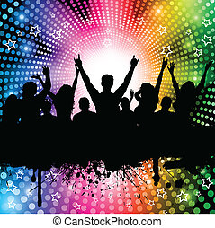 Silhouette of a party crowd on a rainbow coloured lights background
