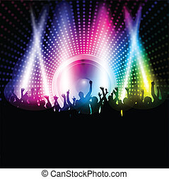 Party background - Silhouette of an excited party crowd on a...