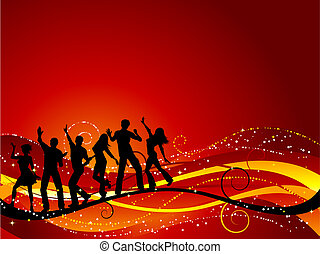 Party background - Silhouettes of people dancing
