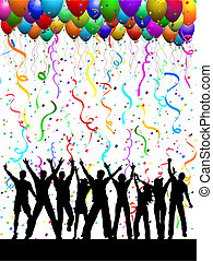 Silhouettes of people dancing on a background with balloons and confetti