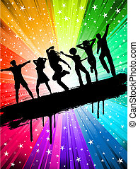 Party background - Silhouettes of people dancing on a starry...