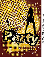 Party background with big disco ball and woman silhouette...