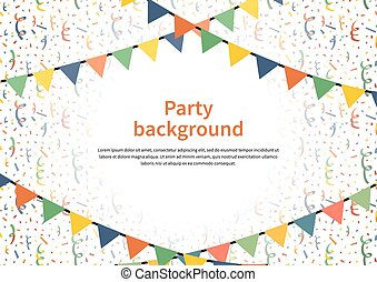 Party background with buntings garlands and confetti