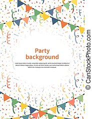 Party background with garlands and confetti on white, a4 size vertical illustration