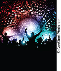 Party background with mirror ball - Party crowd background...