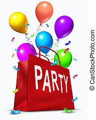 Party Bag - Party bag with balloons exploding out in ...