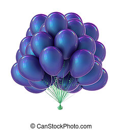 Party balloon bunch blue purple colorful. Helium balloons