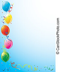 Party balloons and confetti border