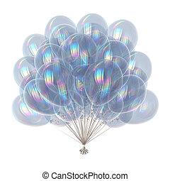 Party balloons birthday decoration white, helium balloon bunch