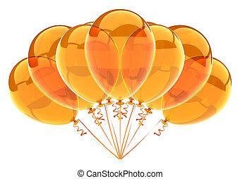 party balloons birthday decoration yellow orange translucent