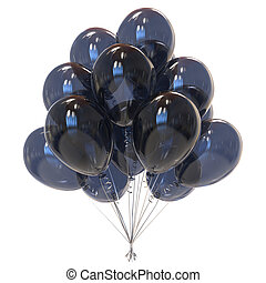 party balloons black translucent. sadness symol. 3d...