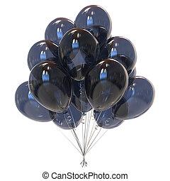 party balloons black translucent. sadness symol. 3d...