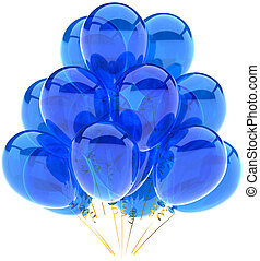 Party balloons blue translucent. Modern shiny cyan decoration for birthday holiday celebration. Fun joyful happiness emotion abstract. This is a detailed render 3d. Isolated on white background