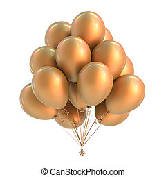 party balloons bunch. birthday decoration yellow