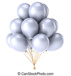party balloons bunch clean white glossy beautiful